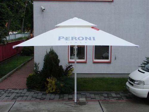 Cream metal parasol umbrella with grey Peroni printed branding.